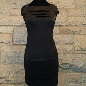 Black Slashed Halloween Top and Mini Skirt